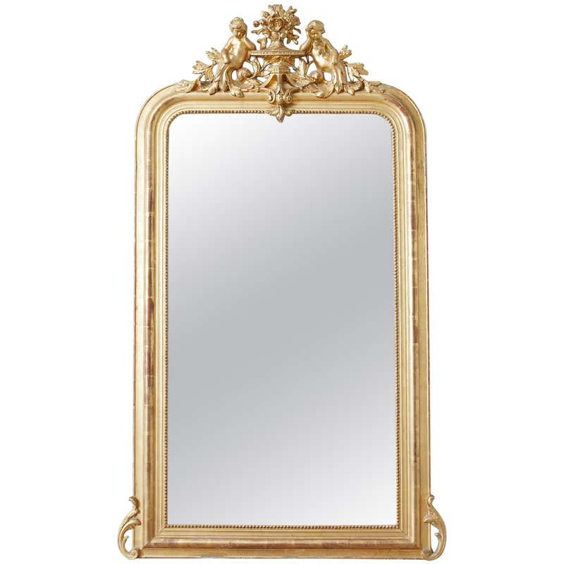 19th Century French Louis Philippe Style Giltwood Mirror