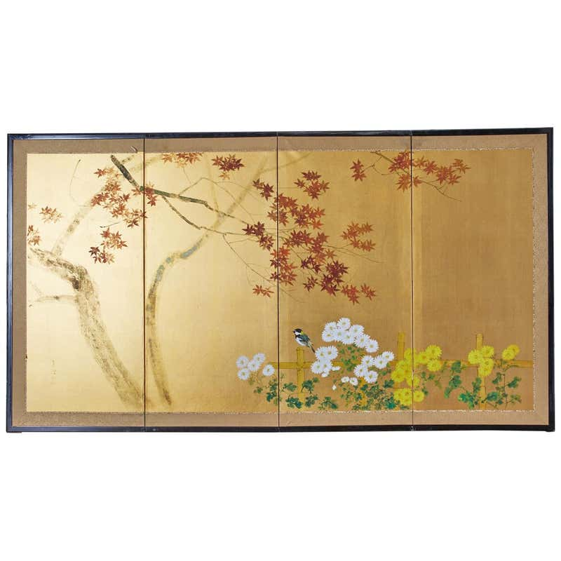 Japanese Four-Panel Screen Autumn Maple and Chrysanthemum