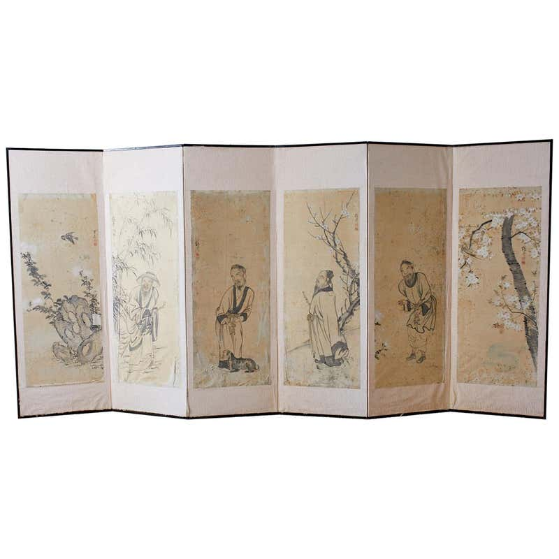 Korean Six-Panel Screen of Legendary Chinese Figures
