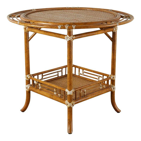 McGuire Rattan Raffia Round Occasional or Centre Table