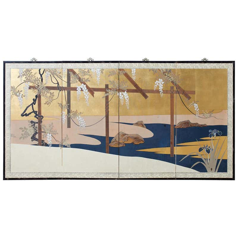 Japanese Four-Panel Screen Wisteria Iris Spring Landscape