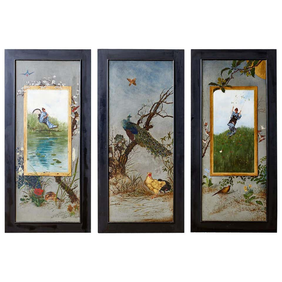 Set of Three French Chinoiserie Framed Canvas Paintings