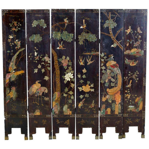 Chinese Export Six-Panel Moriage Lacquered Coromandel Screen