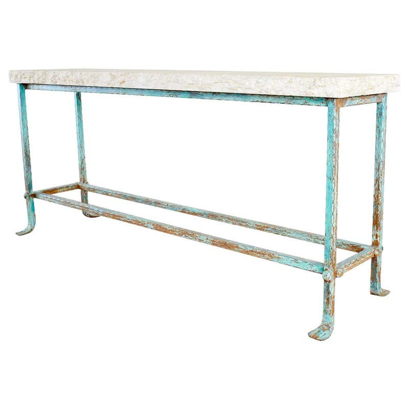 Patinated Iron and Stone Garden Console Table