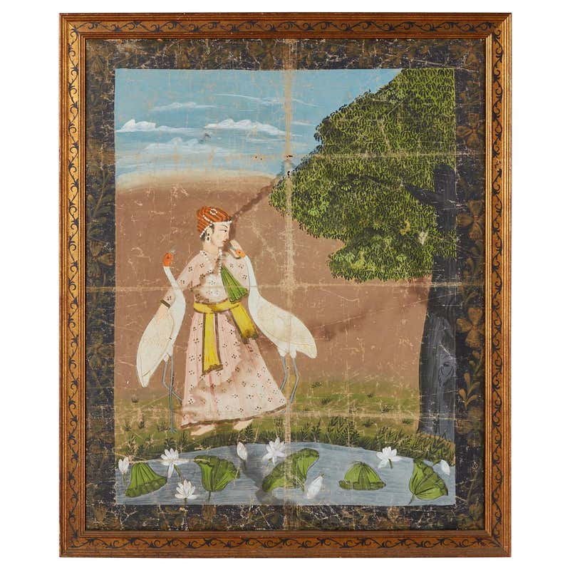 Pichhwai Hindu Painting Figure with Cranes Near Pond
