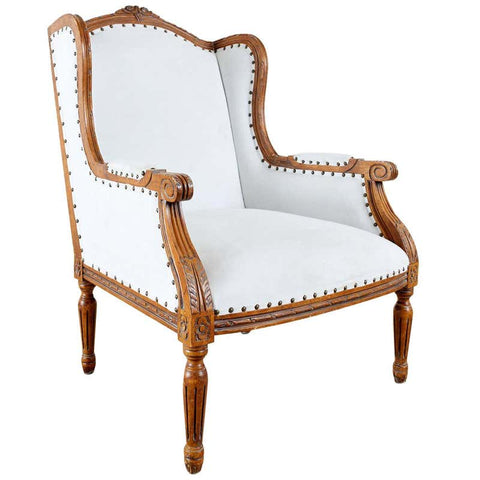 French Louis XVI Style Upholstered Wingback Armchair