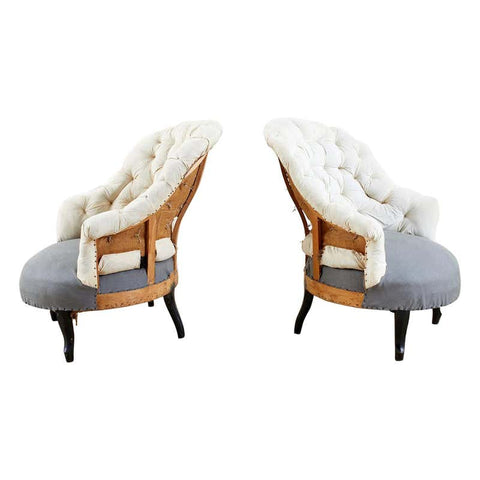 Pair of French Napoleon III Deconstructed Slipper Chairs