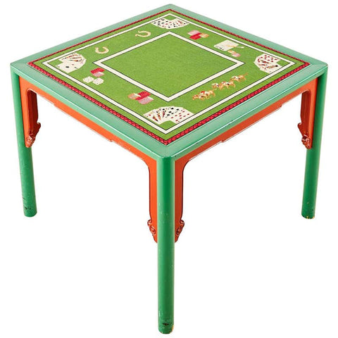 Midcentury Baker Trompe l'oeil Needlepoint Poker Games Table