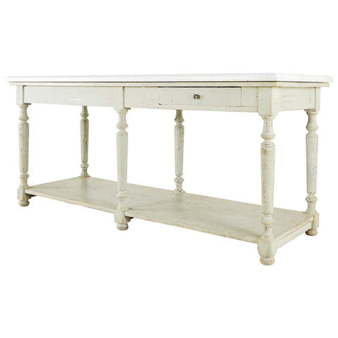French Marble-Top Bakers Table or Kitchen Island