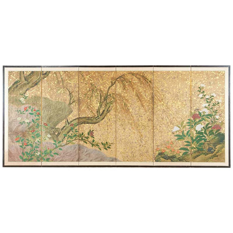 Japanese Six-Panel Edo Screen Willow with Flowers