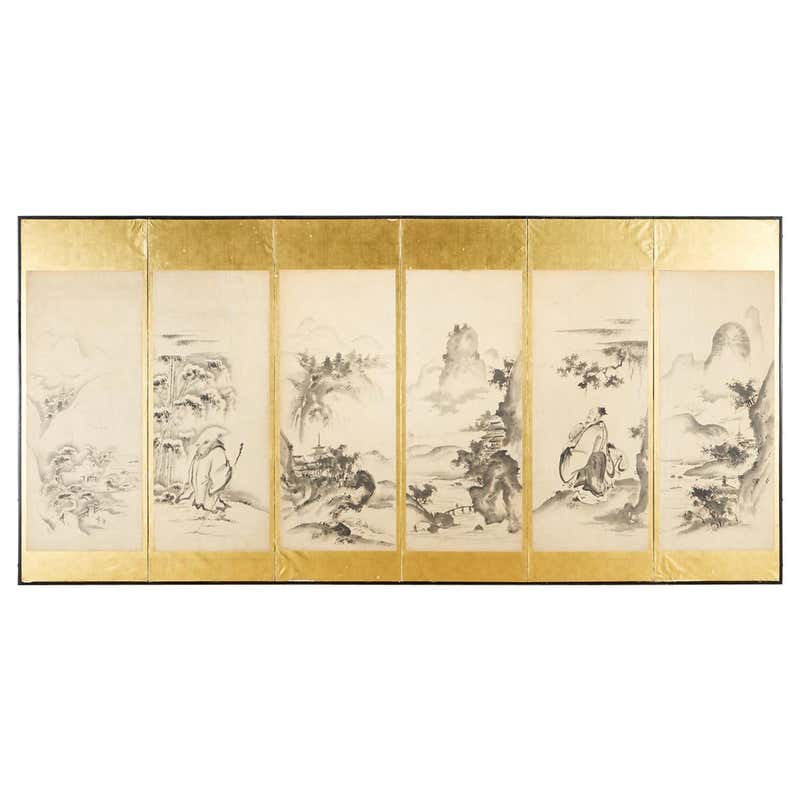 Japanese Edo Six-Panel Haboku Landscapes of Seasons