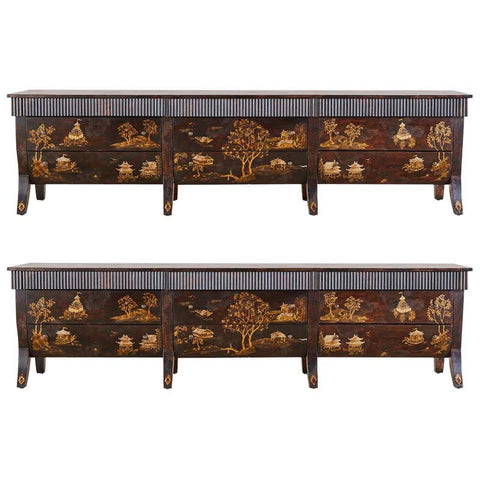 Pair of Monumental Japanned Dressers or Chests of Drawers