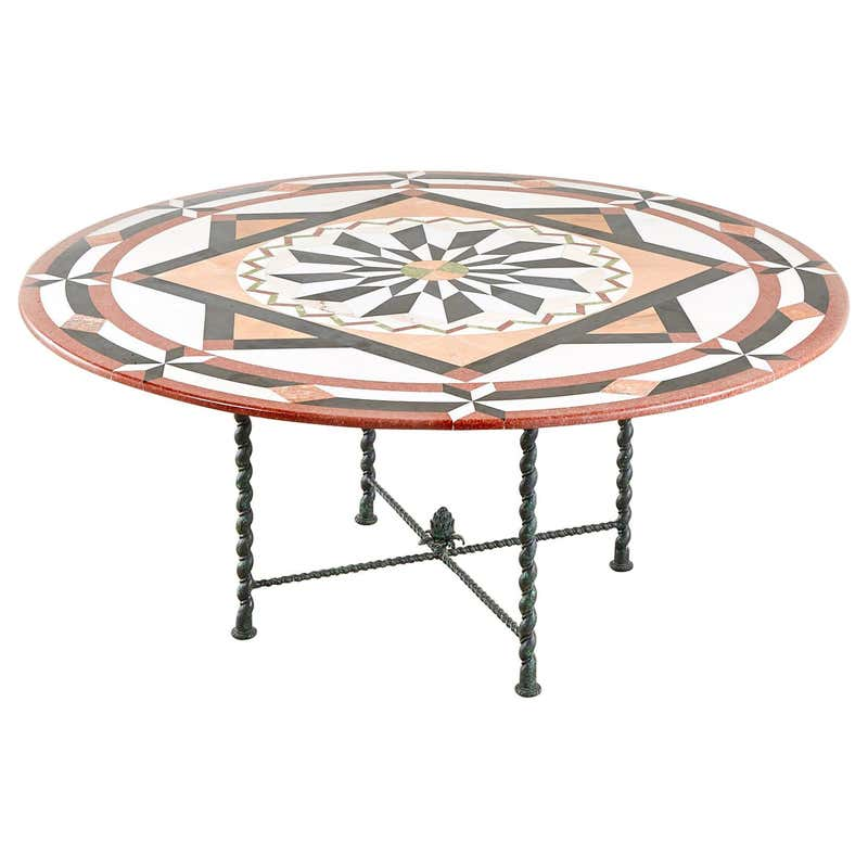 Italian Pietra Dura Marble Inlay Bronze Garden Dining Table