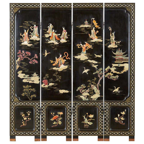 Chinese Export Four-Panel Carved Soapstone Coromandel Screen