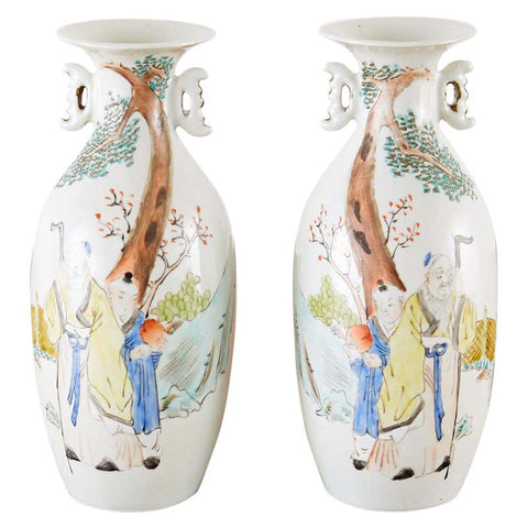 Pair of Diminutive Chinese Porcelain Fencai Vases