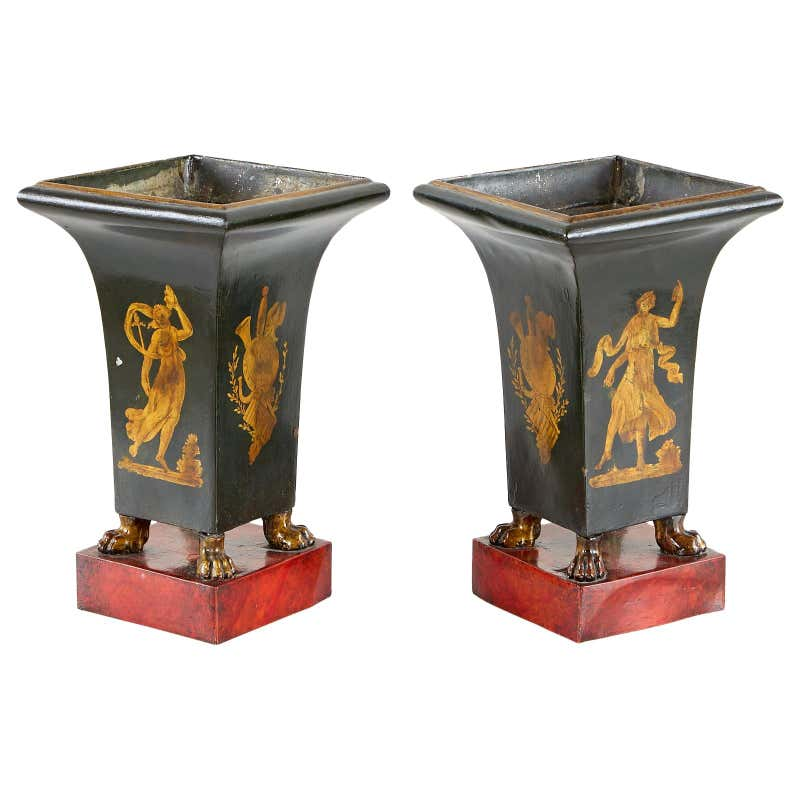 Pair of French Neoclassical Directoire Style Tole Vases
