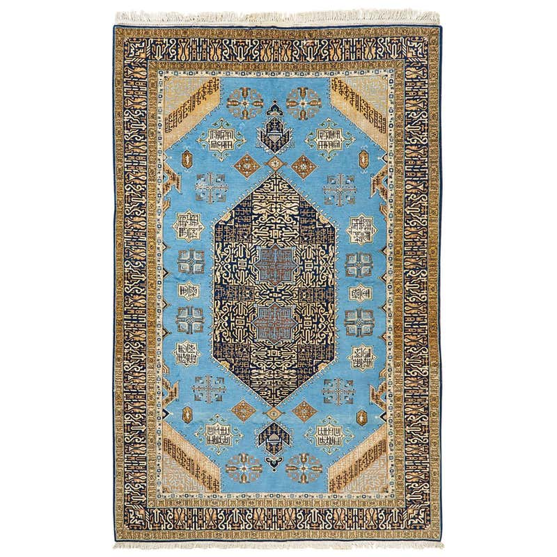 Vintage Persian Tabriz Rug with Sky Blue Field