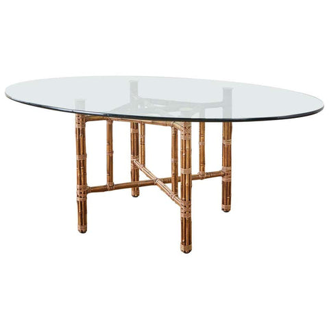 McGuire Organic Modern Bamboo Rattan Oval Dining Table