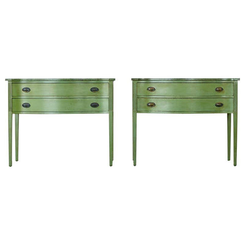Pair of Georgian Style Painted Consoles with Faux Marble Tops
