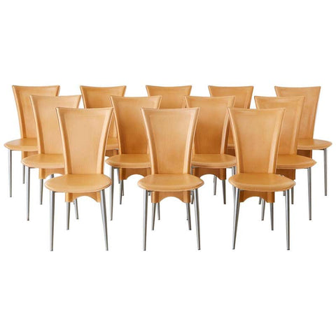 Set of Twelve Modern Italian Leather Wrapped Dining Chairs