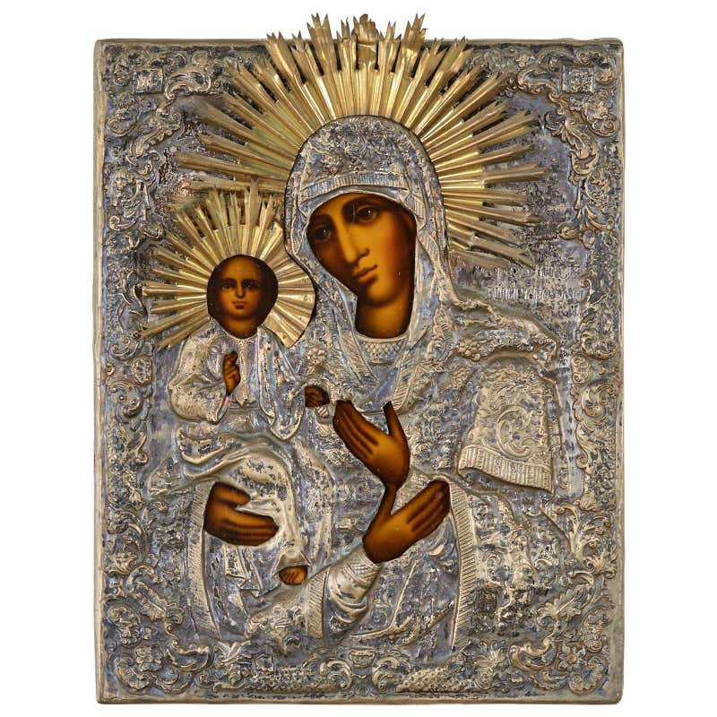 19th Century Russian Orthodox Icon Madonna and Child
