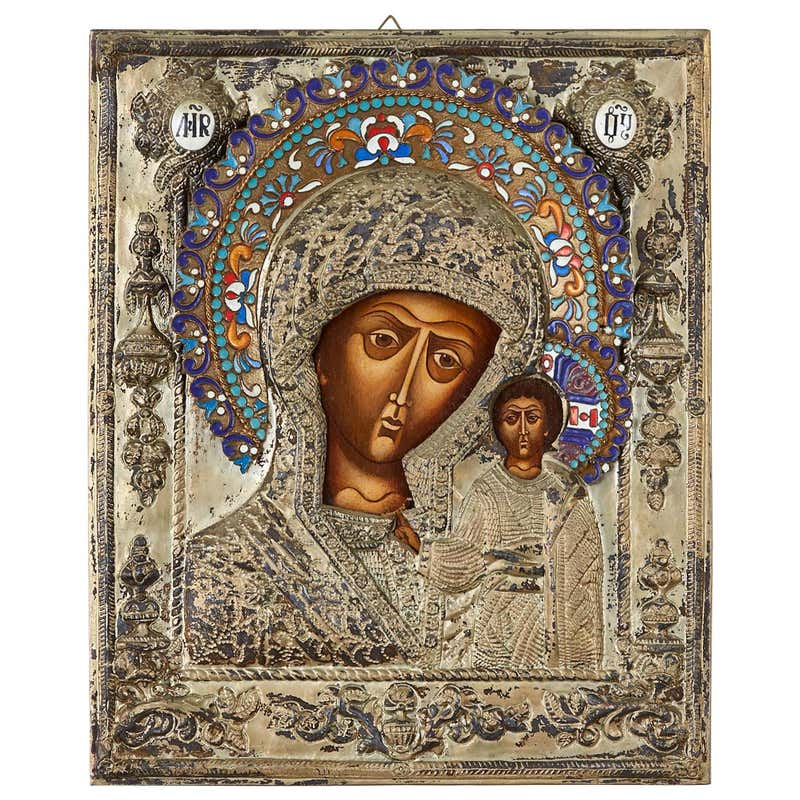 19th Century Russian Enameled Icon Madonna and Child
