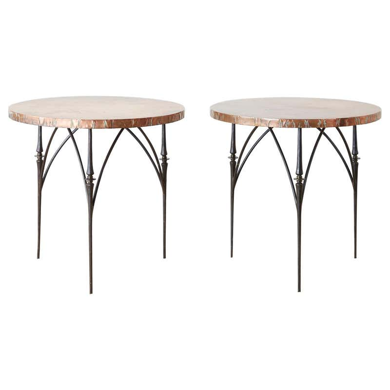 Pair of Moderne Copper Top Centre or Dining Tables