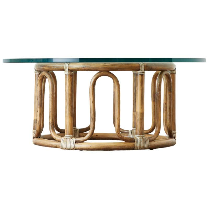 McGuire Organic Modern Bamboo Rattan Round Cocktail Table