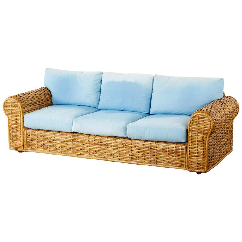 Ralph Lauren Woven Rattan Sofa with Blue Ombre Upholstery