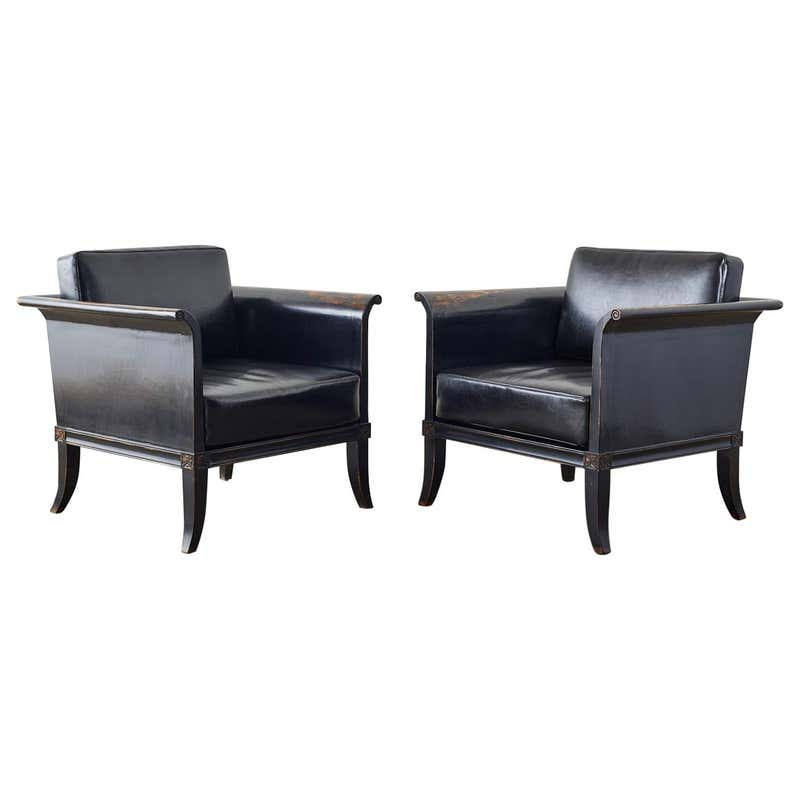 Pair of Neoclassical Style Oak Lacquered Cube Chairs