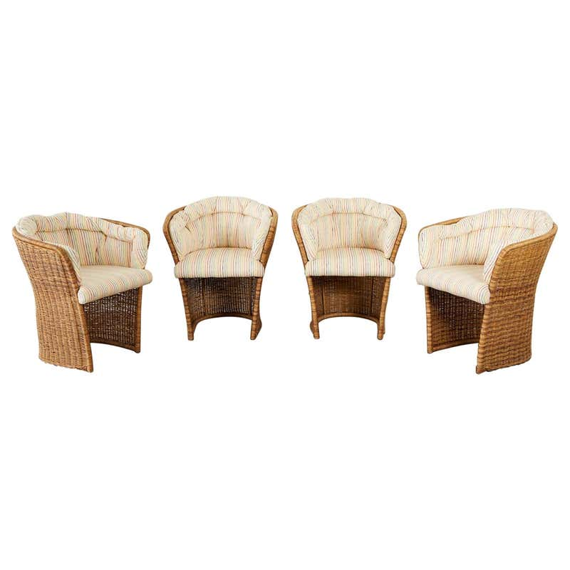 Set of Four Organic Modern Wicker Tulip Chairs