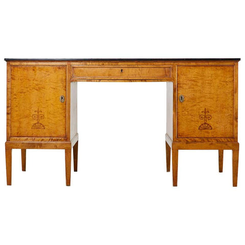 Swedish Modern Art Deco Birch Writing Table by Bodafors