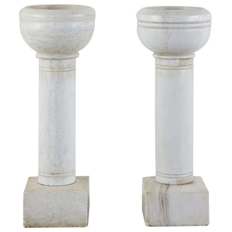 Pair of Italian Carrara Marble Church Font Urns
