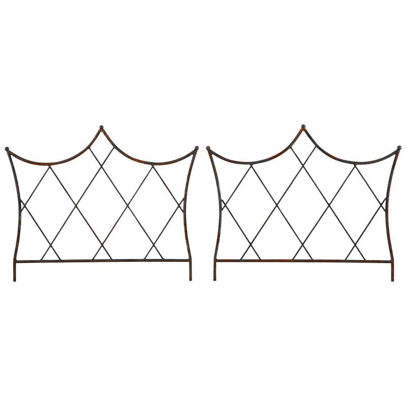Pair of Regency Style Iron and Bronze Headboards
