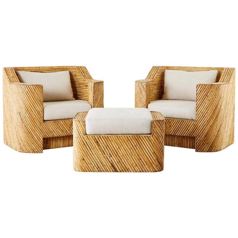 Pair of Gabriella Crespi Inspired Bamboo Rattan Lounge Chairs and Ottoman