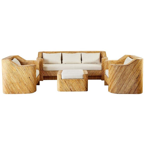 Gabriella Crespi Inspired Bamboo Rattan Sofa and Lounge Chairs