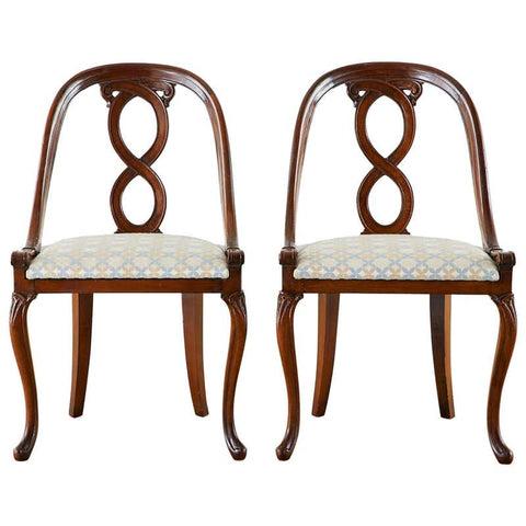 Pair of English Regency Spoon Back Mahogany Chairs