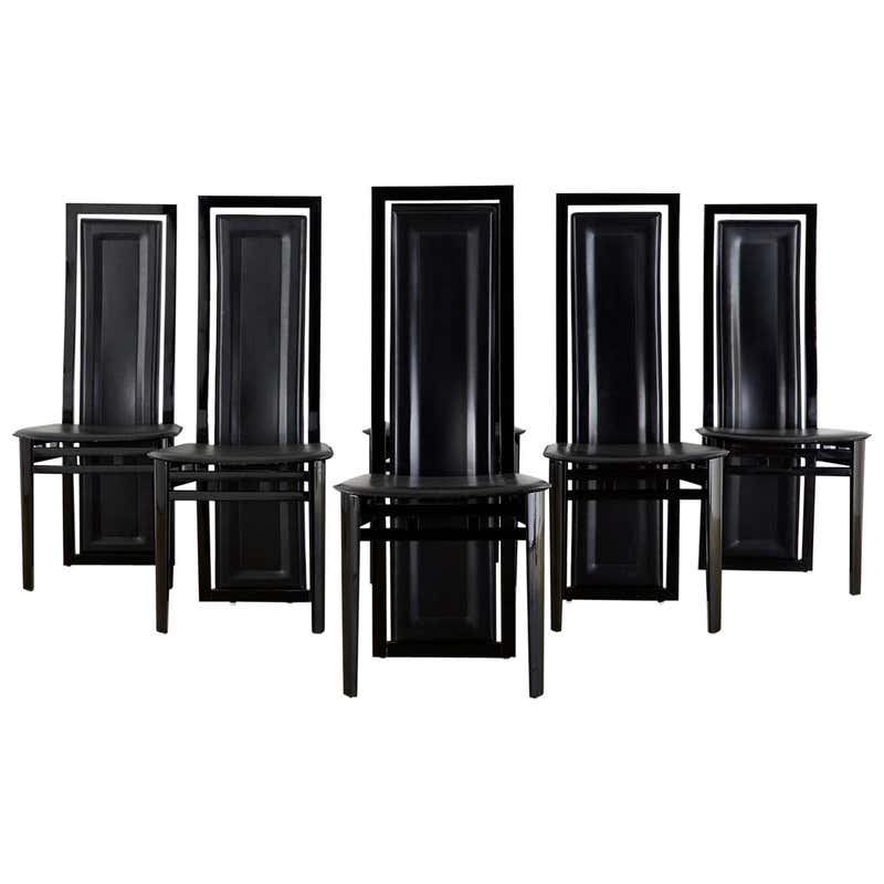 Set of Six Italian Lacquered Wood and Leather Modern Dining Chairs