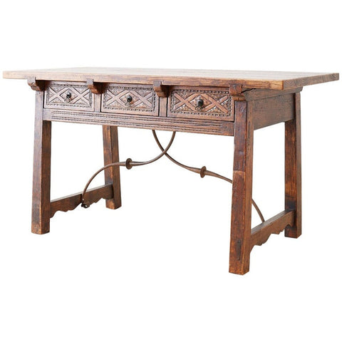 19th Century Spanish Baroque Walnut Trestle Library Table