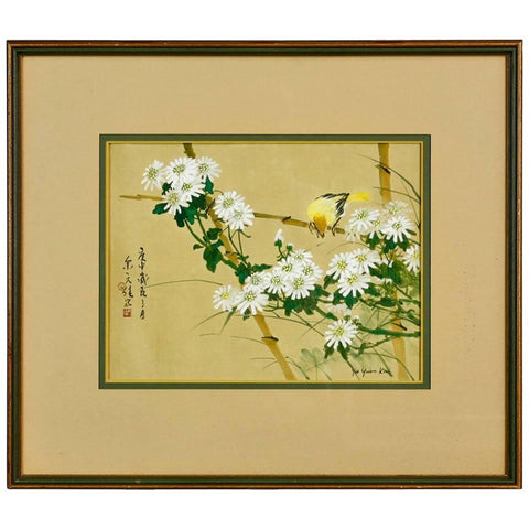 Chinese Floral Painting with Bird Yu Yuen Kai