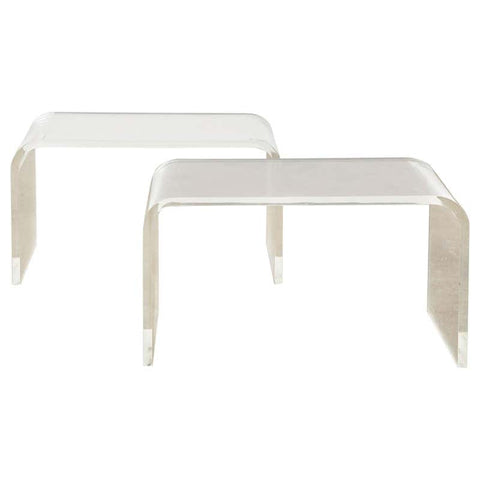 Pair of Modern Lucite Waterfall Benches or Drink Tables
