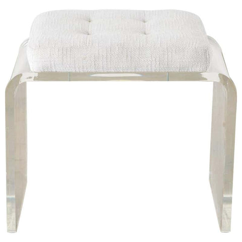 Hollywood Regency Style Lucite Waterfall Vanity Bench Stool