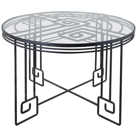 Salterini Style Greek Key Iron Garden Dining Table