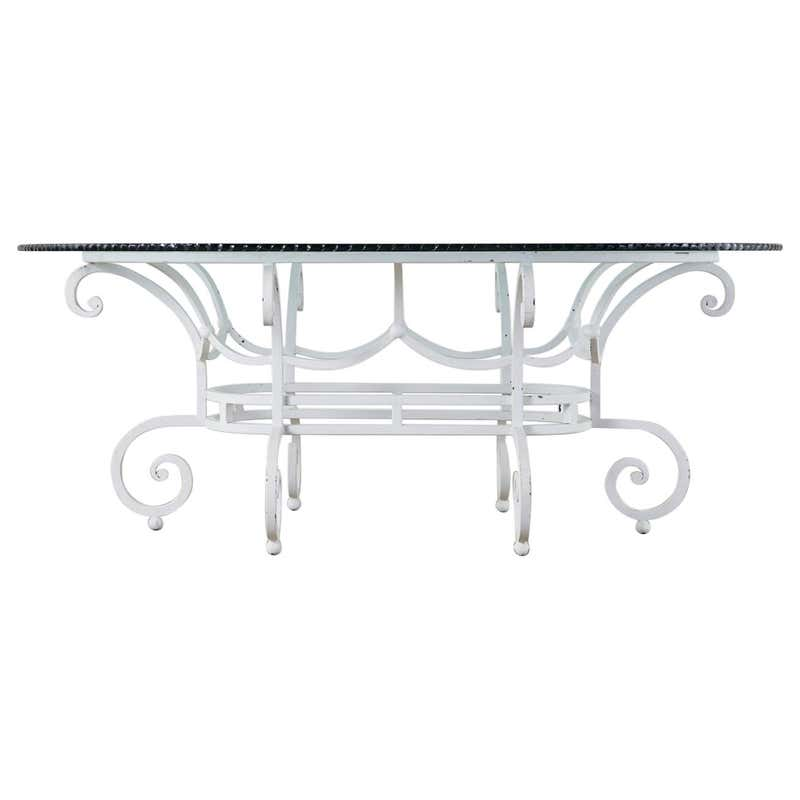 Oval Wrought Iron Painted Garden Dining Table