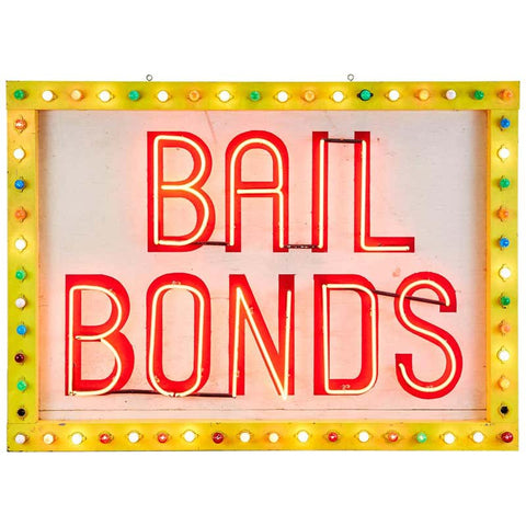 Midcentury Las Vegas Strip Neon Bail Bonds Sign Art