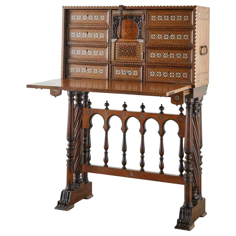 Moorish 18th Century Spanish Vargueño Cabinet Desk on Stand