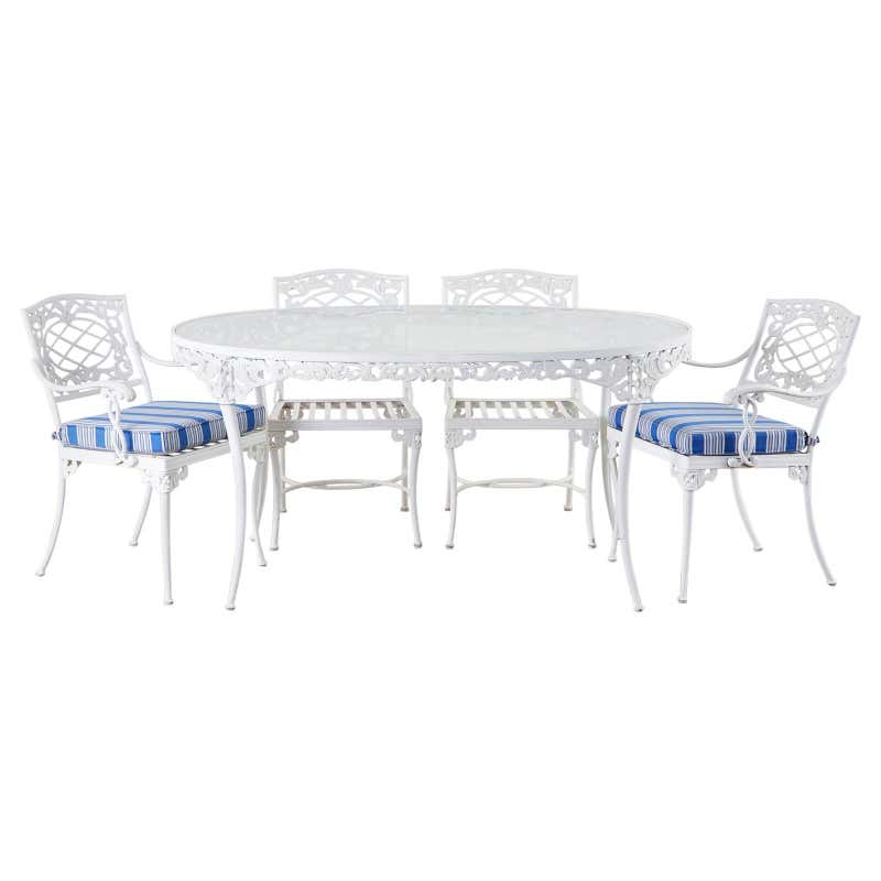 Brown Jordan Neoclassical Style Aluminum Garden Dining Set