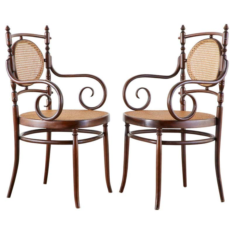 Pair of Salvatore Leone for Thonet Bentwood Cane Armchairs