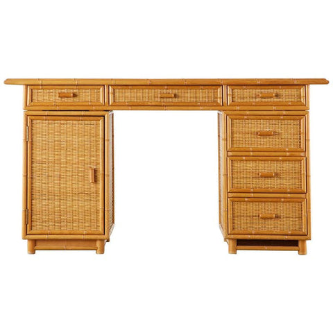 Italian Faux Bamboo Rattan Pedestal Writing Table or Desk