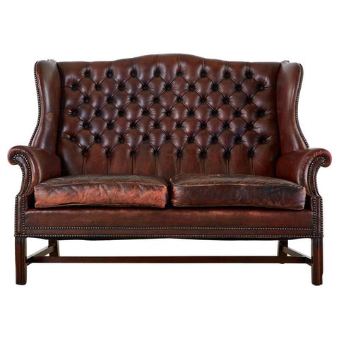 English Georgian Style Tufted Leather Chesterfield Wingback Settee